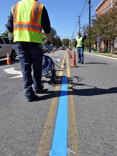 thin blue line painted in street